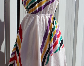 Rainbow Dress 80s Full Circle Tiger New Wave
