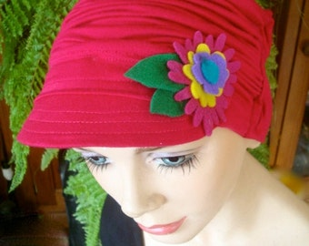 womens hat cerise pink hat newsboy chemo soft hat cloche flapper chemo gift peak cap