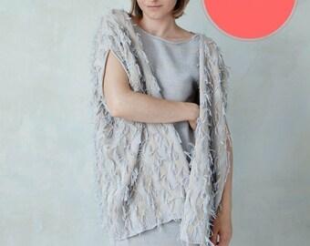Sale - Knit fringed cardigan fuzzy boho knit blanket cardi jacket shrug - ivory sand light gray
