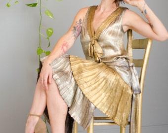 Vintage 1920's Gold & Silver Metal Lamé Flapper Art Deco Dress
