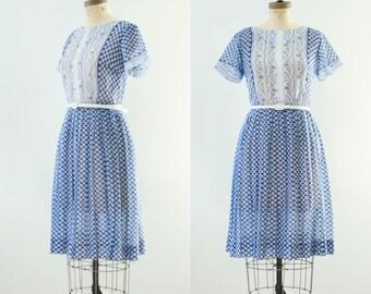 Vintage 1960's Blue & White Batik Gauze Dress