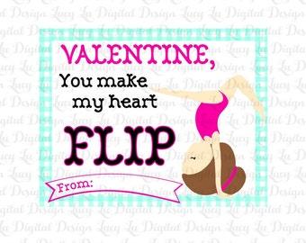 GYMNAST Valentine Cards - gymnastics - Kids Valentine Cards - DIY PRINTABLE Cards