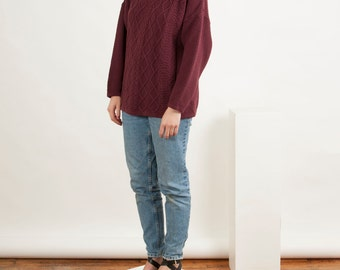 Long Sleeve Cable Knits Sweater / Plum Turtleneck Sweater / Retro Comfy Sweater