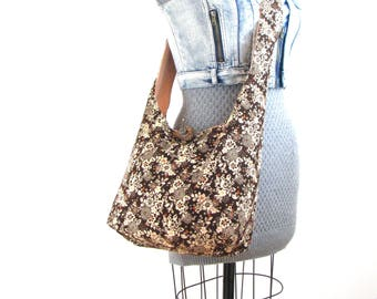 Sling Bag for Women - Brown Crossbody Bag - Cross Shoulder Bag - Floral Bag - Hippie Bag - Hobo Shoulder Bag - Floral Purse for Women