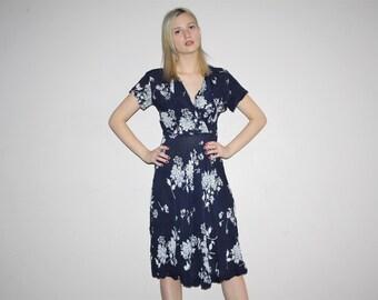 Vintage 1940s Sheer Navy Floral Dress - Vintage  Sheer Dress - Vintage 40s Dresses  - W00370