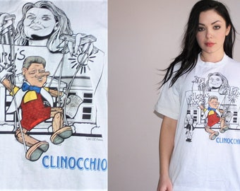 Democrat 1993 Hilary Clinton Bill Clinton Pinocchio Graphic Puppet Donald Trump Republican Political T Shirt - 90s Clothing - WV0077