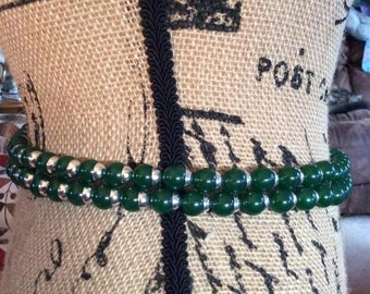 Vintage 1950s Belt Necklace Green Resin Beads Silver Tone Accent Two Row