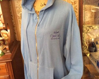 Vintage 1990s Sweatshirt Hoodie Grand Hotel Mackinac Island Michigan Light Blue Zip Front J. America Brand Over Size OS Tag Size XXL