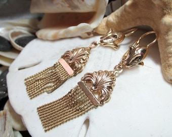 14k Tassel Earrings 6.90g Yellow Gold Movable Dangle Earrings