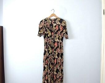 Vintage 90's long grunge dress, black dress with floral, size medium