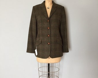 Orvis tweed wool jacket | leather buttons lined jacket