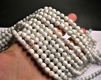 White Howlite  8mm round beads 16 inch strand - 48 beads - RFG241