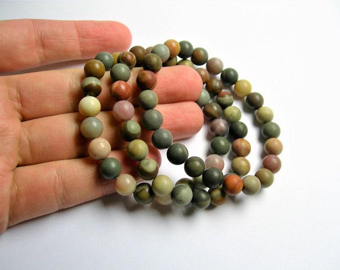 Polychrome jasper - 8mm round beads - matte - 23 beads - 1 set - A quality - HSG23