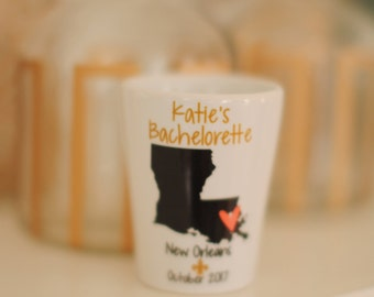 Bachelorette Party Shot Glass, New Orleans Bachelorette, Bachelorette Gifts, Bachelorette Party Favors, Any Location Available