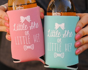 Baby Shower Favors - Personalized Can Coolers, Coed Gender Reveal Favors  Stubby Holders, Beer Insulators, Can Coolies, Cozies