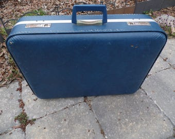 """Suitcase vintage medium blue suitcase with KEYS 24 x 18 x 5"""" for travel, display, storage, photo prop, wedding venue and more"""