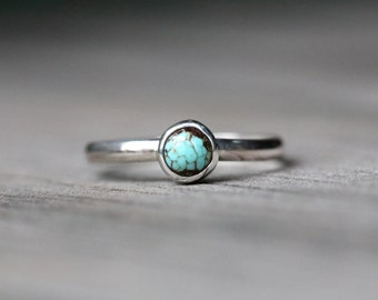 Tiny Turquoise Stacking/Knuckle/Pinky Ring - Sterling Silver - Your Size