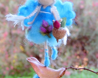 Flower fairy ornament Home decoration Needle felted ornament Waldorf inspired fairy Mobile Flower doll Little magic fairy on a seed