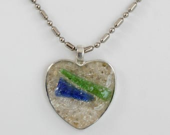 Sand And Sea Glass Necklace, Blue Sea Glass, Green Sea Glass,  White Sea Glass, Pendant Necklace Silver Tray Beach