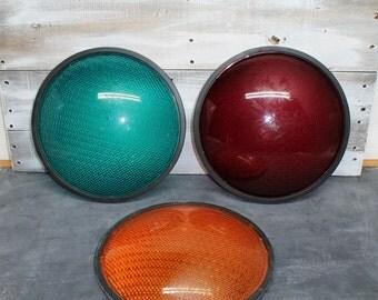 Set of Three Vintage Plastic Stop Light Lenses, Traffic Light Lens, Stop, Yield, Go, Transportation Decor