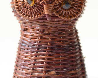 Vintage Owl Wicker Basket Vase