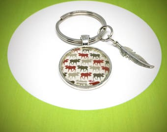 keychain with a heard of moose, grey, white and red , 30mm keyring