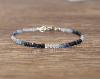 Sapphire Bracelet, Ombre, Shaded, Sapphire Jewelry, September Birthstone, Something Blue, Gemstone Bracelet