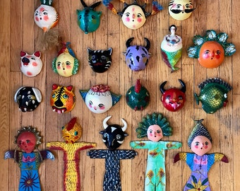 Vintage Mexican Folk Art Coconut Mask Collection (22)