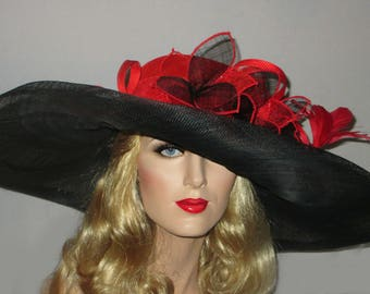 SPRING FLING SOPHISTICATE Kentucky Derby Hat, Extra Wide Brim Red & Black Sinamay Derby Hat, Downton Abbey Wide Brim Hat, High Tea Hat