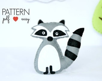 Felt Raccoon PDF Sewing Pattern, Woodland Plush Toy – Favor – Topper, Baby Mobile, Ornament, Woodland Animal Pattern