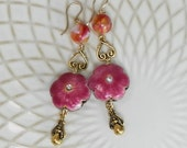 Deep Rose Enamel Flower and Vintage Glass Earrings with Gold Filled Earwires