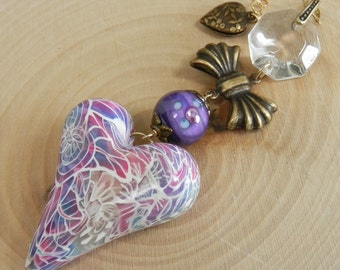 Pink and Purple Mokume Gane Polymer Artist Heart Bead Pendant with antique and handmade glass on Gold Filled Chain