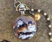 Ladies Cat Kittens Pocket Watch Necklace, Cat Watch Necklace, Cat Necklace, Watch Necklace, Watch Pendant, Ladies Watch Necklace, Cat Watch