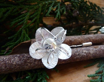 Passion flower brooch: Handmade Sterling silver