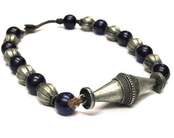 Antique Nepalese Tharu Necklace, Antique Cobalt Blue Wound Glass Beads, Mixed Metal Alloy Silver Center Bead, Nepal, Ethnic Tribal, 115Grams