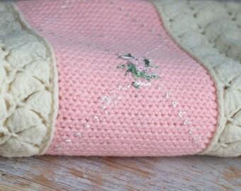 Vintage Crochet Baby Blanket, Pink White Baby Girls, Cottage Home, Mid Century Nursery Decor