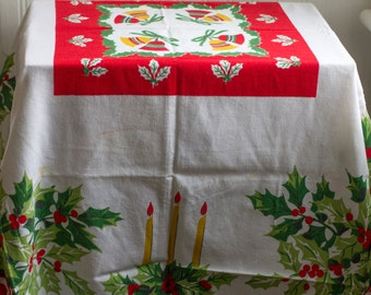 2 Vintage Christmas Tablecloth, Holiday Table Decoration, Red Green White, Christmas Bells Candles, Holly Berry Berries Trime
