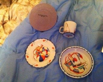 "Vintage Tiffany & Co. Children's ""Tiffany Seashore"" Porcelain Dish Set"