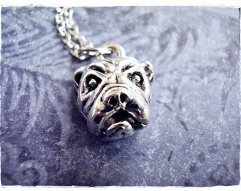 Silver Bull Dog Head Necklace - Silver Pewter Bull Dog Head Charm on a Delicate Silver Plated Cable Chain or Charm Only