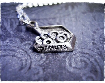 Silver Box of Donuts Necklace - Antique Pewter Donut Box Charm on a Delicate Silver Plated Cable Chain or Charm Only