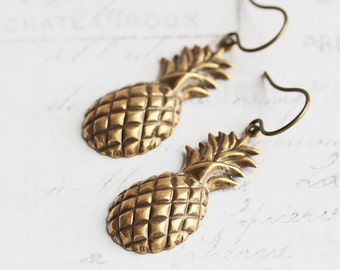 Antiqued Brass Plated Pineapple Earrings