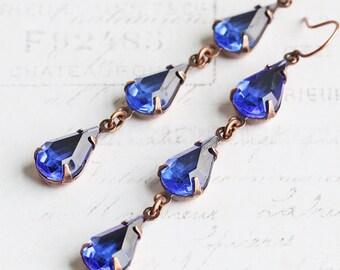 Dark Blue Earrings, Rhinestone Teardrop Earrings on Antiqued Copper Plated Hooks, Long Dangle Earrings, Vintage Glass, Rhinestone Jewelry