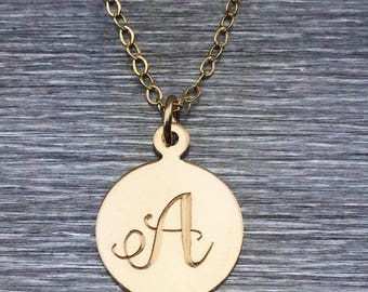 Gold Initial Necklace – Gold Letter Necklace – Personalized Charm Necklace – Minimal Necklace – Gold Filled Charm – Personalized Initial