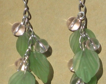 Fairy Earrings with Green Glass Leaves and Pink Glass Beads