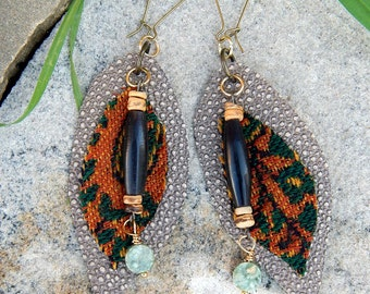 Leather Jewelry Tapestry Earrings Black Bone Beads Textured Leather Folk Gypsy Style Earth Goddess Adornments Textile Jewelry Gifts For Her