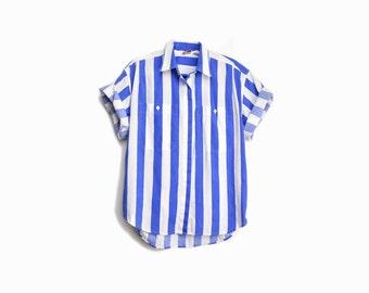 Vintage 90s Striped Blue Shirt / Beach Shirt - women's medium