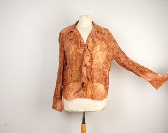 tie dye poet blouse ruffled fall colors tan brown long sleeve boho peasant blouse vintage romantic button up large
