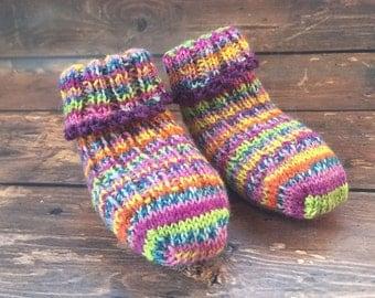 Purple Knit Baby Booties - Baby Girl Socks - Hand Knit Baby Socks - Knitted Baby Booties - Knit Socks for Babies - Stay On Socks Booties