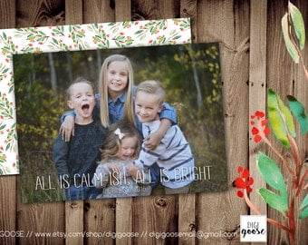 SAME DAY TURNAROUND Custom Christmas Card // Holiday Greeting Card // All is Calm-ish // All is Calm // All is Bright