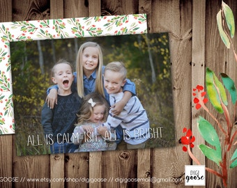 SAME DAY TURNAROUND Custom Christmas Card // Holiday Greeting Card // All is Calm-ish // All is Calm // All is Bright // 006